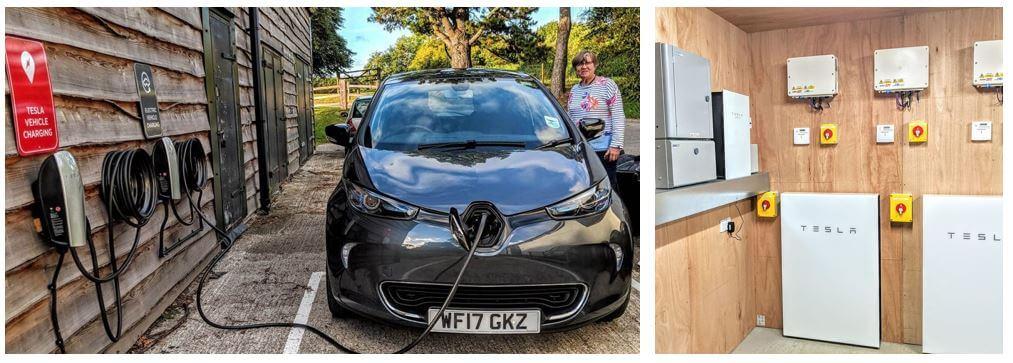 Tesla vehicle charging point and Tesla powerwall